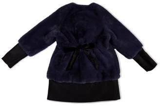 Monteau Girls Luxury Faux Fur Parka Coat Jacket Winter Outerwear Warm Overcoat