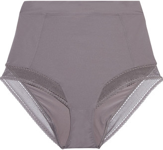 Eres Peau D'ange Radieuse Mesh-trimmed Stretch-jersey High-rise Briefs