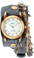 La Mer Women's 'Multi Leaf' Quartz Gold-Tone and Leather Watch, Color:Blue (Model: LMCW2016366)
