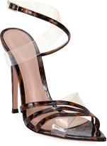 Gianvito Rossi Crisscross Leopard-Print Patent Stiletto Sandals