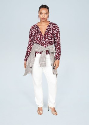 MANGO Violeta BY Floral print blouse maroon - 10 - Plus sizes