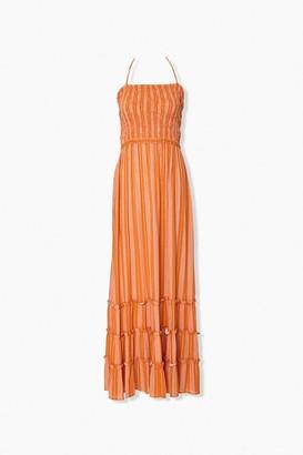 Forever 21 Striped Halter Maxi Dress