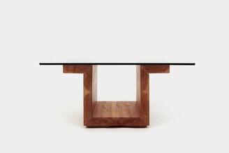 "Artless SQG Pedestal Coffee Table with Storage Table Base Color: White Oak, Size: 14"" H x 30"" L x 22"" W"