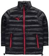 Diadora Boys Manchester Jacket Junior Rain Coat Top Long Sleeve Chin Guard
