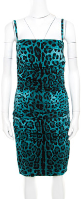 Dolce & Gabbana Green Leopard Printed Silk Sleeveless Ruched Cocktail Dress S
