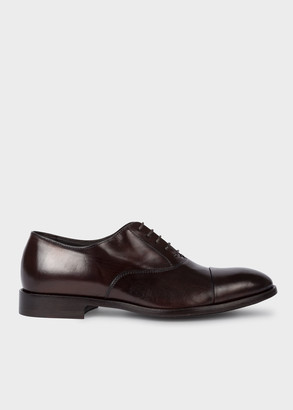 Paul Smith Men's Chocolate Brown Leather 'Brent' Oxford Shoes With 'Signature Stripe' Details