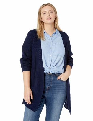 One World ONEWORLD Women's Plus Size Braid Trim Lace Up Back Cardigan