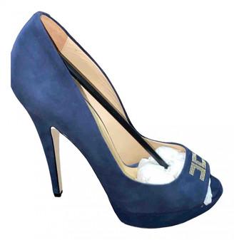 Elisabetta Franchi Blue Suede Heels