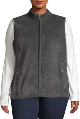 Karen Scott Plus Full-Zip Fleece Performance Vest