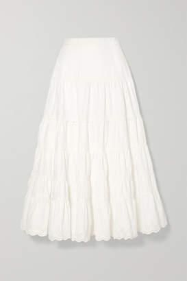 Ulla Johnson Fleet Broderie Anglaise-trimmed Cotton-poplin Midi Skirt - White