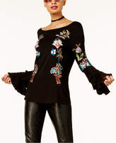 INC International Concepts Anna Sui Loves Petite Embroidered Bell-Sleeve Top, Created for Macy's