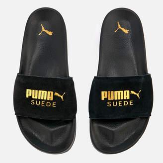 Puma Leadcat Suede Slide Sandals Black Team Gold