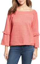 Caslon Ruffle Trim Bell Sleeve Sweatshirt (Regular & Petite)
