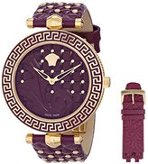 Versace Women's VK7120014 Vanitas Gold Ion-Plated Watch with Two Purple Leather Bands