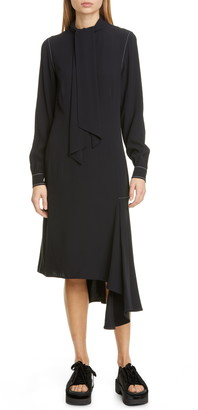 Marni Asymmetrical Long Sleeve Satin Crepe Midi Dress