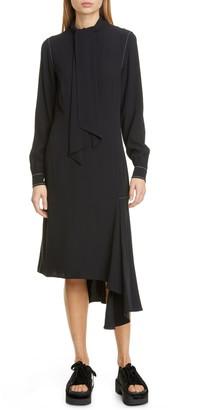 Marni Asymmetrical Long Sleeve Satin Crepe Midi Dress