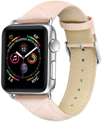 Posh Tech Quilted Leather 38mm/40mm Bands with Stainless Metal Buckle for Apple Watch Series 1, 2, 3, 4, 5