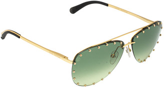 Louis Vuitton Studded Gold Tone/ Green Gradient Z1062U The Party Aviators Sunglasses