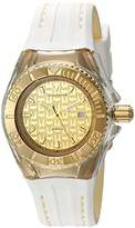 Technomarine Women's Quartz Watch with Gold Dial Analogue Display and White Silicone Strap TM-115156