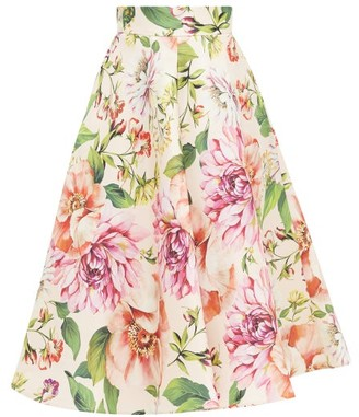 Dolce & Gabbana Poppy And Peony-print Mikado-silk Midi Skirt - Womens - Pink Print
