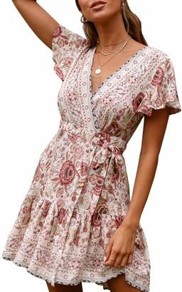 ECOWISH Women Bohemian Vintage Printed Ethnic Style Dress V Neck Short Sleeves Mini Dress Beige S