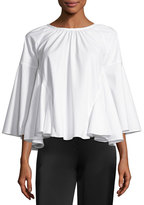 Co 3/4-Sleeve A-Line Cotton Tunic, White