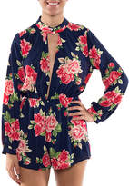 Coveted Clothing Women's Rompers NAVY - Navy Floral Cutout Romper - Women