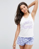 Asos BRIDAL Newly Married Tank & Short Pajama Set