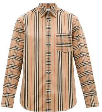 Burberry Patchwork Check And Icon Stripe Cotton-blend Shirt - Mens - Camel
