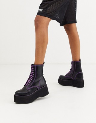 Koi Footwear vegan purple lace up platform ankle boots in black