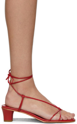 Martiniano Red Spaghetti Heeled Sandals