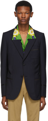 Gucci Blue and Black Satin Piping Blazer