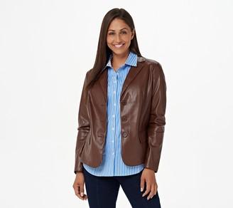 Denim & Co. Faux Leather Blazer with Pockets