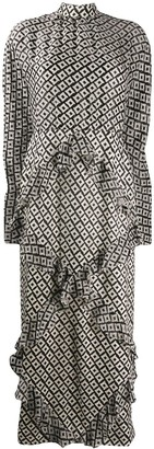 Saloni Geometric Print Ruffled Dress