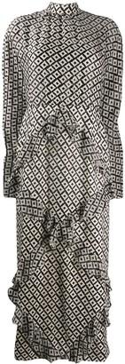Saloni geometric print ruffled dress