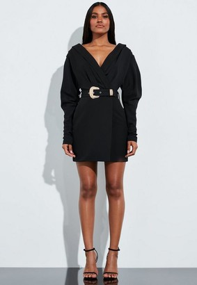 Missguided Black Plunge Western Belted Shirt Dress