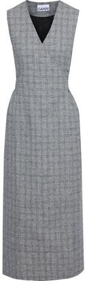 Ganni Prince Of Wales Checked Tweed Midi Wrap Dress