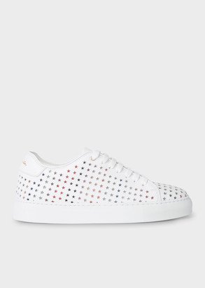 Paul Smith Women's White Leather 'Basso' Sneakers With Star Emboss