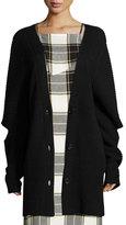 Public School Toni Cutout Ribbed Wool-Blend Cardigan, Black