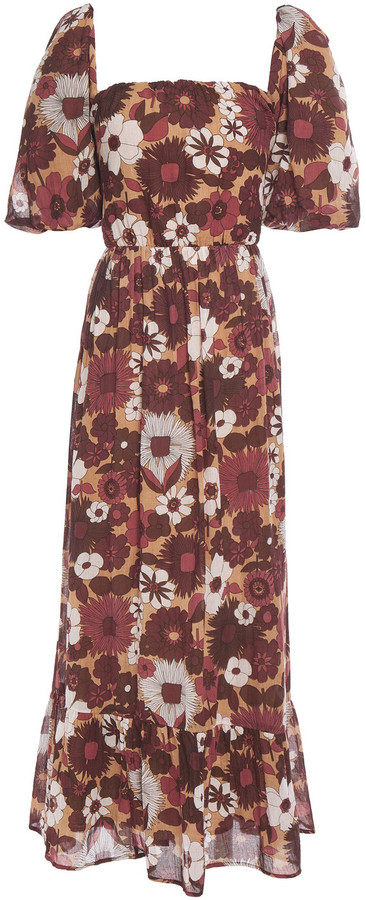 Antik Batik Lorette Cutout Floral-print Cotton Maxi Dress