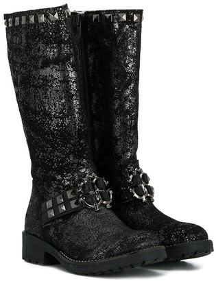 Roberto Cavalli Junior TEEN metallic knee high boots