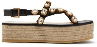Gucci Pepita Crystal-embellished Espadrille Sandals - Womens - Black