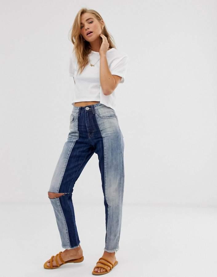 One Teaspoon Legend contrast denim mom jeans