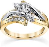 Sirena 5/8 CT. T.W. Diamond 14K Two-Tone Gold 3-Stone Bypass Bridal Ring