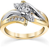 Sirena MODERN BRIDE 5/8 CT. T.W. Diamond 14K Two-Tone Gold 3-Stone Bypass Bridal Ring