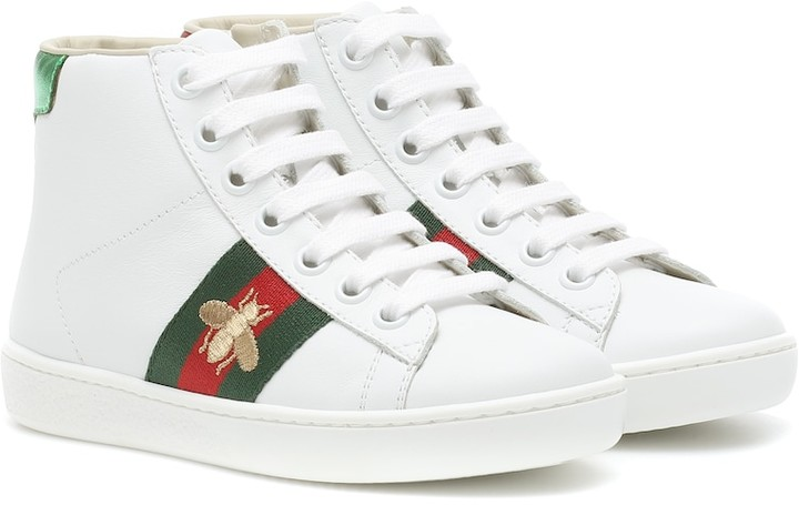 Gucci Kids Ace leather high-top sneakers
