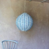 Graham and Green Fia Small Oval Fabric Shade In Indigo Tie Dye