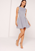 Missguided Scuba Low Back Skater Dress Ice Grey