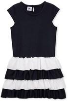 Petit Bateau Girls short-sleeved ruffled dress.