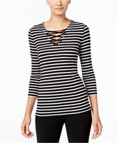 INC International Concepts Striped Lace-Up Top, Only at Macy's
